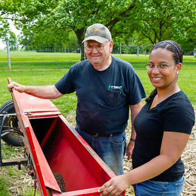 Dr. Mel Henninger and Farm Intern Kate Brown