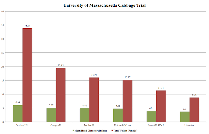 DuPont helped support Ruth Hazzard's work at UMass (Trial EAD-14-756), and ranked her results, from highest to lowest cabbage head weights (most effective to least effective cabbage maggot efficacy). Application rates and methods: Verimark®: 13 fl. oz./acre, tray drench. Coragen®: 5 fl. oz./acre, tray drench.  Lorsban®: 2.4 fl. oz./acre, banded application over row after transplant. Entrust A: 10 fl. oz./acre, tray drench followed by banded application at first adult flight, repeated at 16 day intervals as needed. Entrust B: 10 fl. oz./acre, banded application at first adult flight, repeated at 16 day intervals as needed.