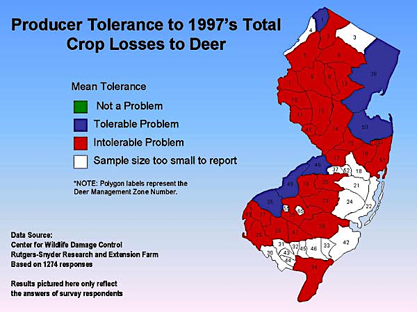 Producer Tolerance to Crop Losses to Deer 1997